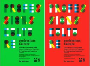 5. Promotion de l'évènement «Professions Culture». Affiches imprimées avec tons directs par Fannette Mellier pour le Ministère de la Culture. Image provenant du blog du lycée Brequigny à Rennes.